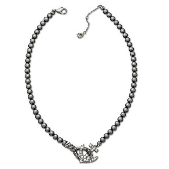 Black Pearl Anchor Necklace Silver/Black