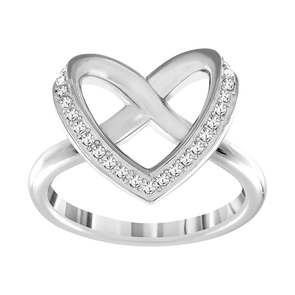 Cupidon Ring, Rhodium/Crystal