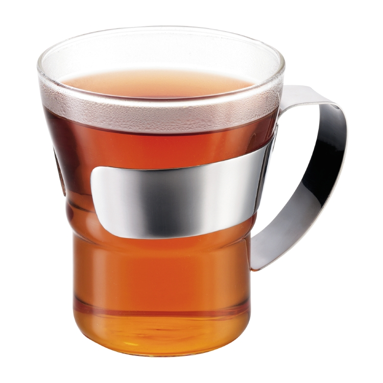 ASSAM Tea glass w. Chrome handle, 30 cl, Set of 2