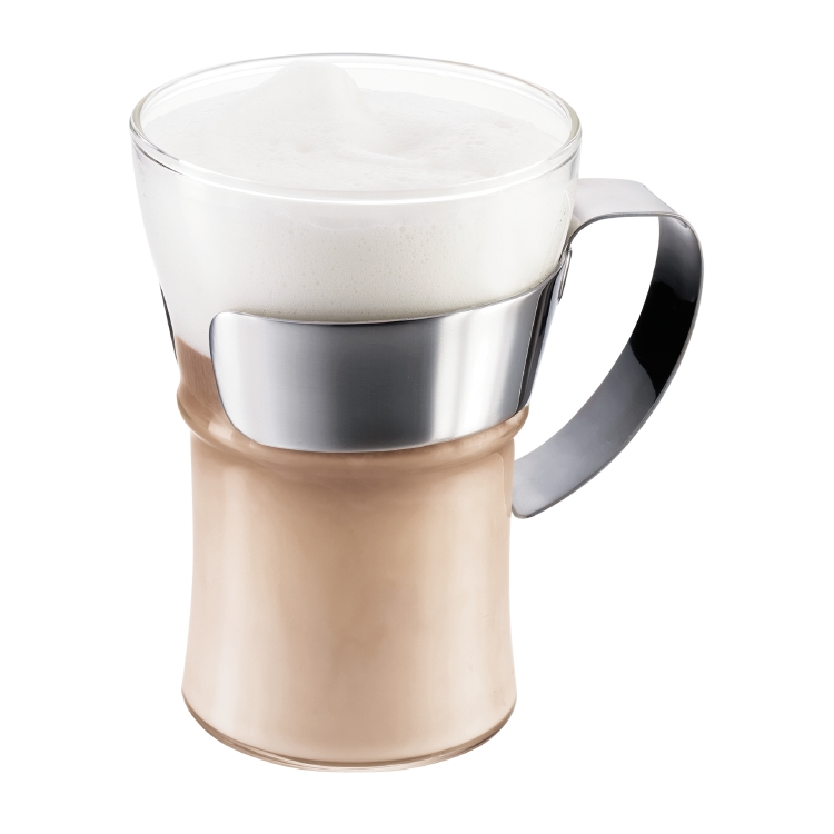 ASSAM Coffee glass w. Chrome handled, Set of 2